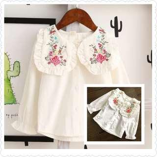 *Clearance Offer* White Long Sleeve Blouse with Embroidery Collar