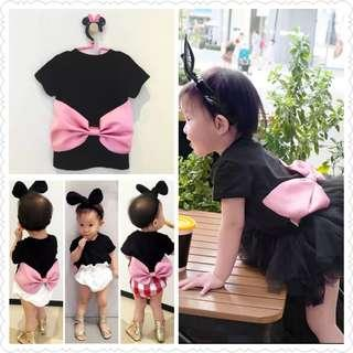 *Clearance Offer* Black Top with Pink Big Ribbon At Back