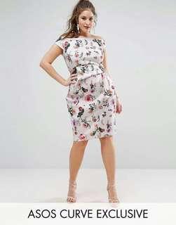 3D Floral Plus Size Dress