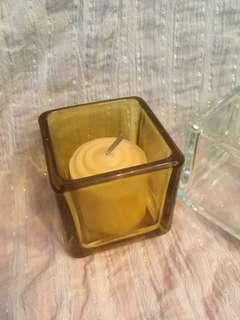 🚚 Clear glass cubed candle holder, coffee colored