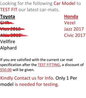 CAR Mats, please read description or contact us.