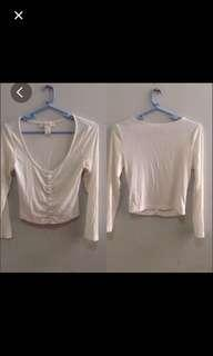 Forever 21 White Long sleeves crop top
