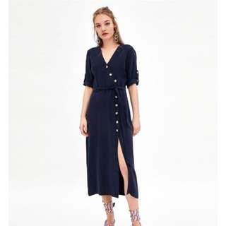 Authentic Zara Midi Dress With Buttons