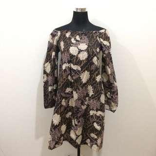 Floral Longsleeves Off Shoulder Dress