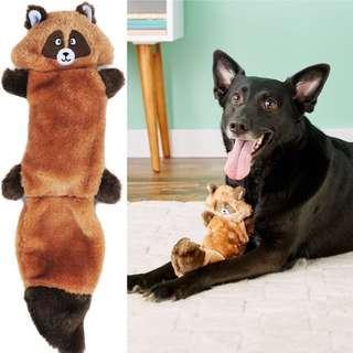 BN ZippyPaws Zingy No Stuffing 3 Squeaker Plush Dog Toy Raccoon
