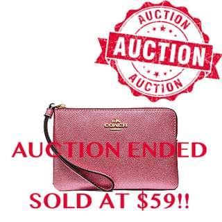 """⏰ENDING SOON!! Auction """"Like"""" & """"Bid"""" Authentic Brand New Coach Small Corner Zip Wristlet In Metallic Antique Blush From USA Suggested Retail: $168"""