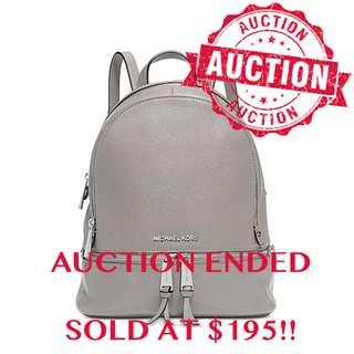 """⏰ENDING SOON!! Auction """"Like"""" & """"Bid"""" Authentic Brand New Michael Kors Rhea Small Leather Backpack Pearl Grey From USA Suggested Retail: $628"""