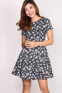 Gwendoline Floral Sleeved Panel Dress (Size S)