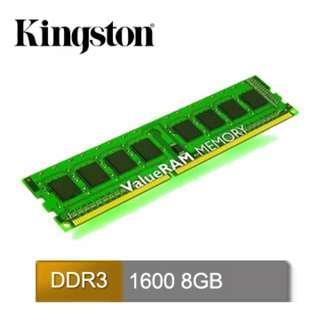 Kingston 8GB DDR3 1600 桌上型記憶體(KVR16N11/8)