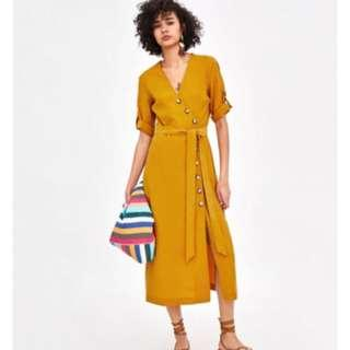 Authentic Zara Midi With Button (Mustard)