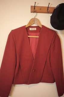 🚚 古著海軍寬領墊肩斜紋布橘紅西裝外套