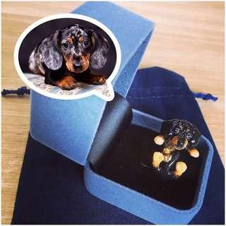 Hand-painted Dushund Puppy Ring