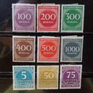 [lapyip1230] 德意志帝國 1921年 高面額票至75000馬克 新票全套 Set Mint