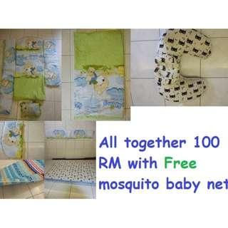 Crib Bedding Set Kids and mattress and  Nursing Support Pillow Baby