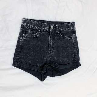 h&m divided black acid wash shorts #caroupayzerofees