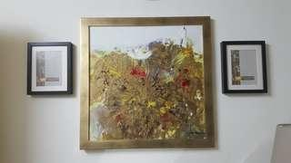 Real artist Painting lotus pressed with gold brushed frame