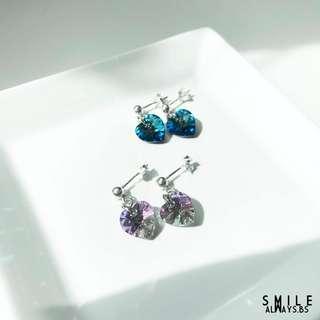 925 Silver - Swarovski Hearts Earrings