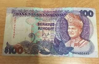 RM100 old note
