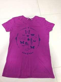 Purple graphic t shirt with butterflies
