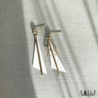 Double triangle dangle earring