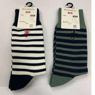 Jw Anderson socks x Uniqlo 棉質 橫間襪 $140兩對, 可分開買