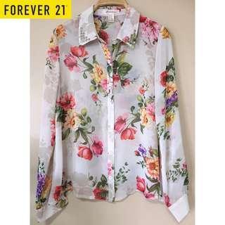🚚 ✨BNIB BN F21 Floral Pyramid Studded Collar shirt Blouse SIZE M Fits UK 10/12, Size M/L