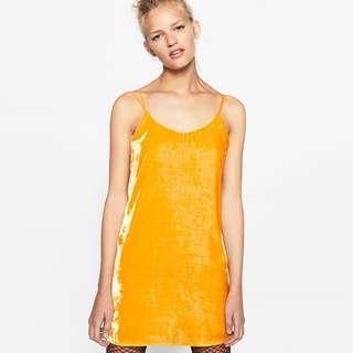 Zara Trafaluc Yellow Velvet Dress