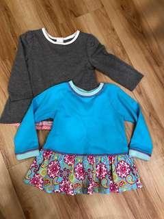 Girls' Long Sleeve Tops - Blue & Grey