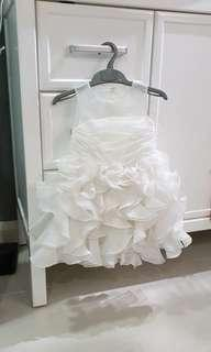 Baby Girl Wedding Dress - White with flower folding pattern