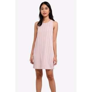 🚚 Zalora Striped Striped Sleeveless Dress in Blush Pink