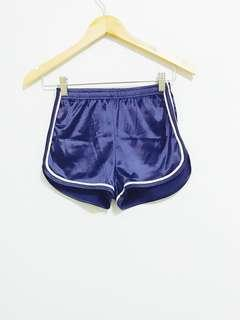 🚚 Blue Runner Outline Curved Cut Satin Shorts