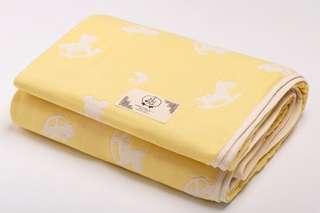 🚚 BeBe-Style 【日本製 三河木綿】 六重紗布被 童趣搖搖木馬(暖陽黃) s號 嬰兒被 推車被 小毯子