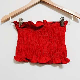🚚 Red Scrunched Ruffled Tube Top