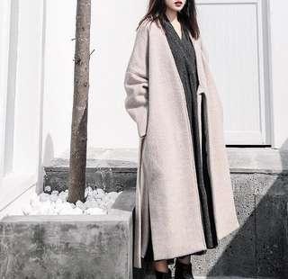 🚚 9.5成新|加厚羊駝絨綁帶開衩毛呢大衣女寬版長版外套