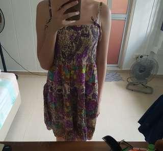 Purple embroidered smocked tie dress