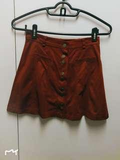 全新Zara橙啡色絲絨短裙New Zara Orange Brown Velvet Skirt