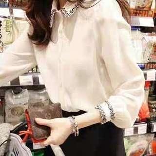 小香風氣質白襯衫