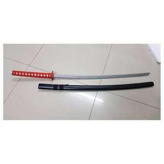 Long Black and Red Katana Cosplay Sword Prop