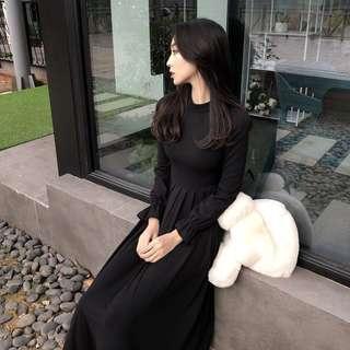 遮肚腩顯身材針織冬天黑色連身裙 black dress