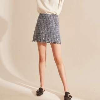 Navy blue tweed skirt with pearls