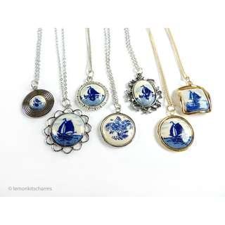 Vintage 1970s Delft Ceramic Necklaces, choose style