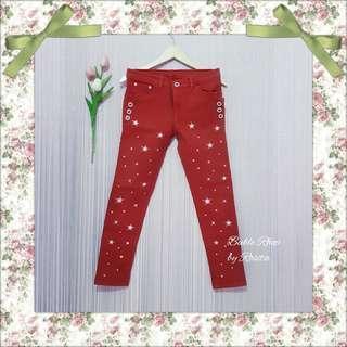 Celana warna color colour motif star bintang jeans denim bawahan wanita bahan chino pants red bawahan celana bekas preloved pribadi second secondhand bekas berkualitas