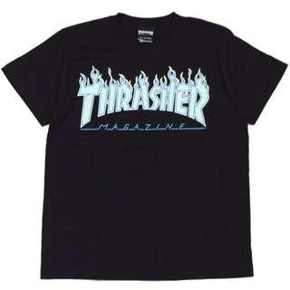 Thrasher Flame 2017 3C Tee Black Opal Blue $60