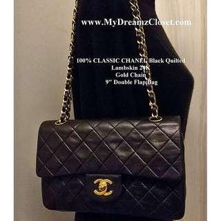 3619efc9547d2a 100% CLASSIC CHANEL Black Quilted Lambskin 24K Gold Chain 9