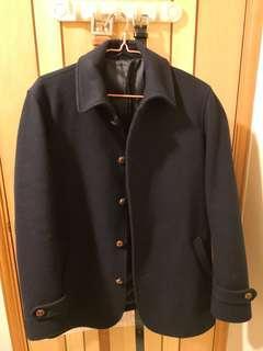 MUJI 海軍 羊毛 大褸 Navy Wool Jacket