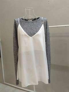 2in1 set grey top and white strap shirt