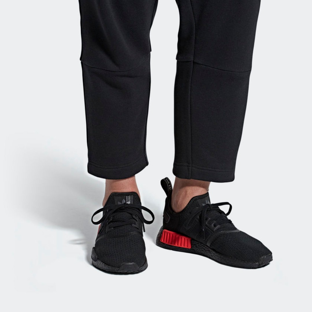 b3ae7380e ADIDAS NMD R1 SHOES - CORE BLACK CORE BLACK LUSH RED