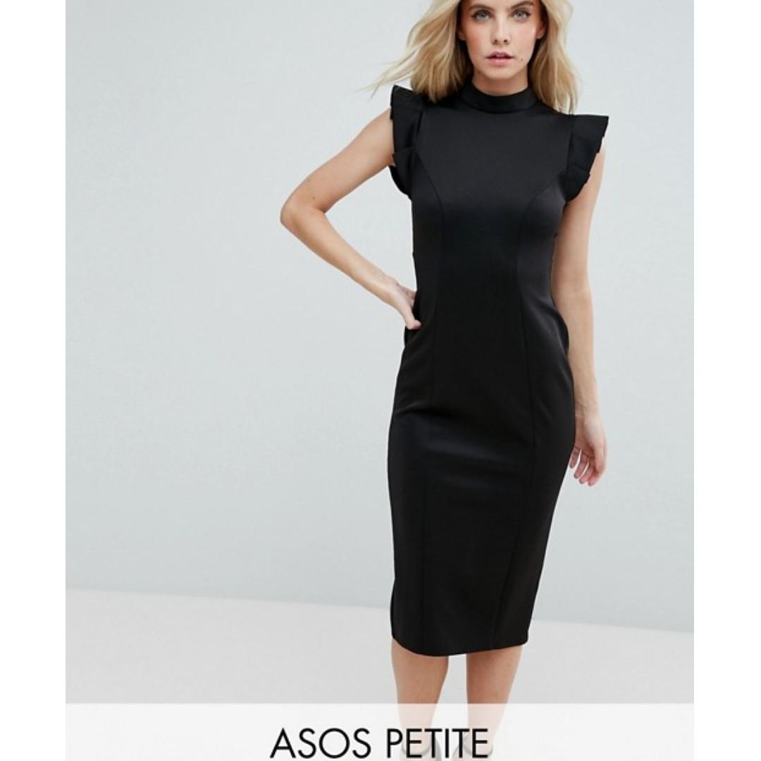 b47486d2b31c ASOS PETITE Midi High Neck Pencil Dress With Cut Out Back, Women's ...