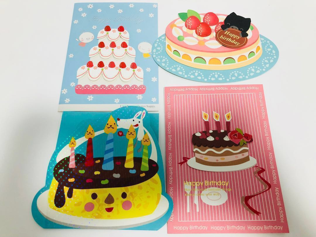 Birthday Cake Greeting Cards X 4pcs S8 Design Craft Others On
