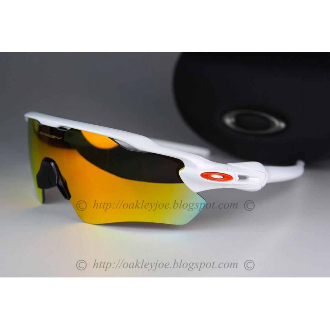 BNIB Oakley Custom Radar EV polished white + fire iridium